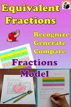 This equivalent fractions worksheets bundle uses visual fractions model to teach students to recognize and generate simple equivalent fractions, apply concept to compare and arrange fractions. A great 3rd-4th grade hands on math activity for student to fully understand concept before progressing to solve word problems, addition and subtraction of different fraction denominators. Find out other educators' reviews. #3rdgrademathactivities #4thgradefractionsworksheets #teachingequivalentfractions