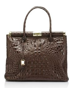 Loving this Brown Croc-Embossed Leather Satchel on #zulily! #zulilyfinds