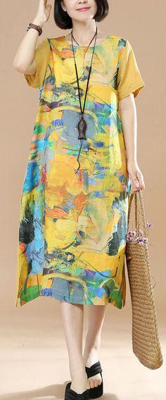 2018 yellow pirnts linen dresses plus size vintage sundress