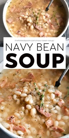 This Navy Bean Soup with Ham is a simple, hearty, and flavorful bean soup recipe filled with leftover ham and tender cooked navy beans. Perfect for lunch or dinner with a side of buttery bread. Navy Bean Soup, Ham And Bean Soup, Bean Soup Recipes, Chili Recipes, Soup Beans, Leftover Ham, Healthy Soup, Healthy Eating, Ham Bone