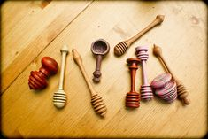 Woodturning - Honey Dippers and such - June 2012-17 by Jenni on the tracks, via Flickr