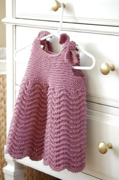 Ravelry: Child's Glamour Dress pattern by Lion Brand Yarn 2 & 4 yrs Knitting For Kids, Baby Knitting Patterns, Crochet For Kids, Baby Patterns, Crochet Baby, Lion Brand Patterns, Kids Poncho, Knit Baby Dress, Point Mousse