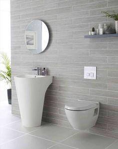 Modern bathroom ideas for tiles! elegante stilvolle graue Fliesen im Badezimmer - Add Modern To Your Life Light Grey Bathrooms, Grey Bathroom Tiles, Bathroom Tile Designs, Bathroom Renos, Beautiful Bathrooms, Bathroom Interior, Modern Bathroom, Bathroom Ideas, Tiled Bathrooms