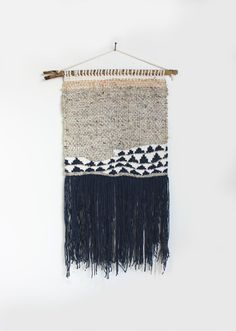 Navy Abstract Weaving Woven Wall Hanging by hellohydrangea on Etsy