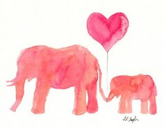 Mom and Baby Pink Elephants Watercolor High Quality Giclee Print Made from my original watercolor painting of two pink and coral elephants Mom And Baby Elephant, Baby Elephant Nursery, Elephant Art, Pink Elephant, Coral Watercolor, Watercolor Feather, Feather Art, Watercolor Paintings, Watercolor Cards