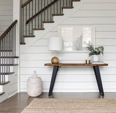 Modern Farmhouse- shiplap, with wood table and wood on the stairs in neutral colors. Home Interior, Interior And Exterior, Interior Design, Home Renovation, Home Remodeling, Sweet Home, Ship Lap Walls, My Dream Home, Modern Farmhouse