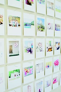 Instagram wall art made with some of her favorite Instagram photos printed and pinned in a grid with sewing pins.