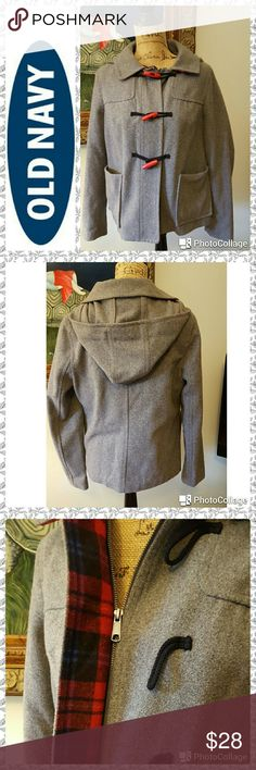 """Old Navy Gray Wool Toggle Coat In excellent condition. Old Navy toggle coat. Charcoal gray wool. Attached hood. Red toggle closure with zipper front closure. Red plaid interior. Front patch pockets. Measurements are length 23"""", sleeves 25"""", bust 38"""", 15"""" across back shoulder to shoulder. Old Navy Jackets & Coats"""