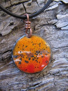 Tigerlily Torch Fired Enamel Pendant Copper Disk