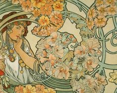 ART NOUVEAU Print of Lady Surrounded by Flowers by Alphonse Mucha. 9.99, via Etsy.