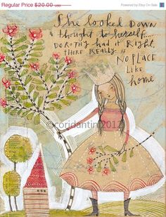 ON SALE crown  no place like home  folk  painting  by corid, $16.00