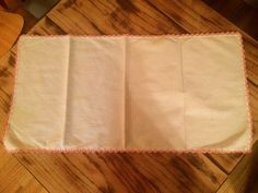 Solid White Vintage Dresser/Vanity/TableRunner Fabulous Pink Trim 29 x 15 inches