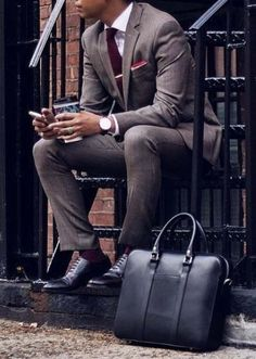 go to gym after work // urban men // mens fashion // leather bag // mens suit…