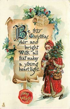 MY WISH on seal  BE THIS CHRISTMAS FAIR AND BRIGHT WITH ALL THAT MAKES A YOUNG HEART LIGHT