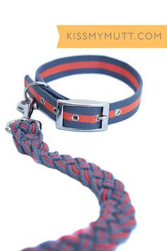 Kiss My Mutt® Mix + Match: Nautical Multi-Stripe Collar + Barcelona Mar Two-toned Braided Leash. www.kissmymutt.com