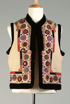 Ivory wool vest (pieptar) with black trim, multicolored embroidery and sequins, Romanian, ca. Folk Costume, Costumes, Hijab Fashion, Fashion Outfits, Wool Vest, Kinds Of Clothes, Black Trim, Vintage Patterns, Traditional Outfits