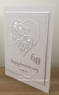 My Craft Room Makes: A 'Clean and Simple' Diamond Wedding Anniversary Card<br> Cricut Anniversary Card, Homemade Anniversary Cards, Diamond Wedding Anniversary Cards, Happy Anniversary Cards, Homemade Birthday Cards, Homemade Cards, Homemade Wedding Cards, Kirigami, Wedding Cards Handmade