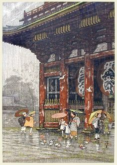 Framed Japanese Print: Figures in the Rain Japanese ink and color on paper print; depicting figures taking shelter from the rain, birds bathing in the foreground; with inscription and seal mark, pencil signature lower left corner (slight wear); Japanese Art Prints, Japanese Artwork, Japanese Painting, Chinese Painting, Japanese Illustration, Illustration Art, Botanical Illustration, Art Asiatique, Art Japonais