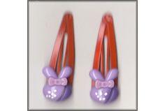 Bunny Rabbit Girls Red Hair Clips