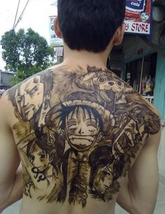 This back tattoo shows some popular japanese anime characters with a bold statement of the love the tattoo wearer has for animated productions. One Piece Tattoos, Cool Back Tattoos, Back Tattoos For Guys, Pieces Tattoo, Back Tattoo Women, Awesome Tattoos, Manga Tattoo, Tattoo On, Anime Tattoos