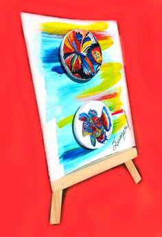 Fridge Magnet, Butterfly Decor, Fish Decor, Coastal Art, Butterfly Magnet, Butterfly Painting, Mixed Media Art, Fish Painting, Abstract Fish