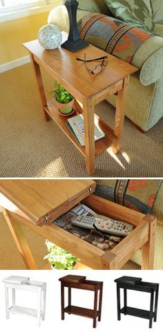 Good Chairside Storage Table Space Saving Table Gives You Hidden Storage.