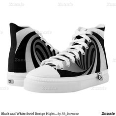 Black and White Swirl Design Hightop Printed Shoes