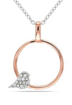 Delmar 0.03CT Diamond Pendant In White And Pink Silver
