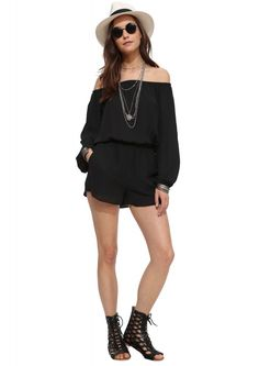 Eight Sixty Off The Shoulder Romper in Black | Necessary Clothing