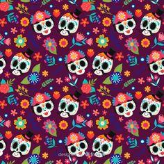 Pink Skull, Sugar Skull Art, Skull Wallpaper, Pattern Wallpaper, Apple Watch Faces, Free Hand Drawing, Halloween Patterns, Creative Illustration, Skull And Bones