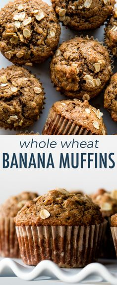 Moist and healthy banana muffins! These delicious whole wheat banana nut muffins. Moist and healthy banana muffins! These delicious whole wheat banana nut muffins are made without r Muffins Blueberry, Banana Oatmeal Muffins, Healthy Banana Muffins, Banana Nut Bread, Banana Cinnamon, Cinnamon Muffins, Banana Whole Wheat Muffins, Morning Glory Muffins, Nutella Muffin