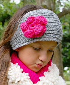 Another great find on #zulily! Little Cotton Dress Gray & Pink Rosa Cable-Knit Wool Head Warmer by Little Cotton Dress #zulilyfinds