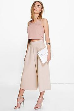 38697ab0e7a23 Boohoo Night Arianna Pleat Front Wide Leg Tailored Culottes ( 30) ❤ liked  on Polyvore