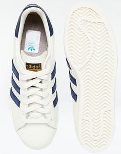 official photos abd8c f8c8f Adidas  Adidas Superstar 80s Vintage White  Navy Trainers at ASOS Navy  Trainers, Snicker