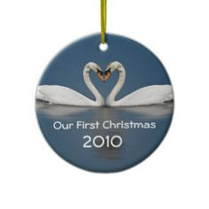 Our First Christmas Pretty Swans Christmas Tree Ornament