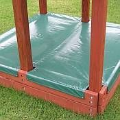 I have been trying to figure out how to make a cover for the boys sand box under their playset. I was thinking wooden, but this makes a lot more sense. I wonder if the hubby can make one!