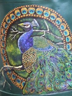 Peacock Painted milk can - detail