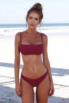 Buy Women Bandeau Bandage Bikini Set Push-Up Brazilian Swimwear Beachwear Swimsuit Fashion Mall at Wish - Shopping Made Fun Push Up Bikini, Brasilianischer Bikini, Bikini Sexy, Bandeau Swimsuit, Triangle Bikini, Bikini 2018, Women Bikini, Triangle Swimwear, Bikini Beach
