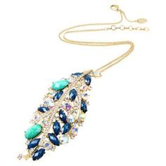 """Indulge in dazzling style with this chic necklace, showcasing a leaf-inspired pendant adorned with colorful faux stones and dazzling Austrian crystals.     Product: PendantConstruction Material: Austrian crystal, brass, and resinColor: Turquoise and lapisFeatures: Adjustable lengthDimensions: 17-19.5"""" Chain"""