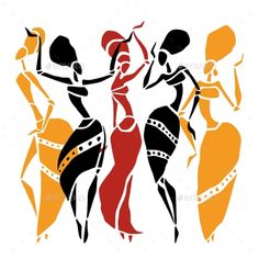Illustration of African dancers silhouette set. vector art, clipart and stock vectors. African Dance, African Girl, African American Art, African Women, Black Art Painting, Painting Of Girl, Clipart, African Tattoo, Afrique Art