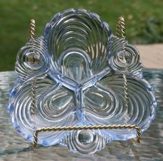 vintage CAMBRIDGE CAPRICE MOONLIGHT BLUE - RELISH or CANDY DISH - antique glass