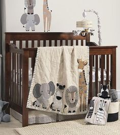 Lambs Ivy Signature Tanzania Tan Gray Safari 4 Piece Crib Bedding Set Baby Boy