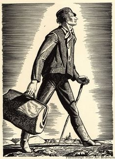 Moby Dick, by Herman Melville, illustrated by Rockwell Kent vol. 10 (The Carpet Bag). Rockwell Kent, Pierce Brosnan, History Of Literature, Moby Dick, Whale Art, New Bedford, Carpet Bag, Paris Art, American Artists
