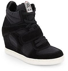 Suede & Canvas Wedge High-Top Sneakers