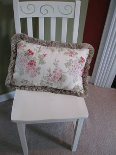 SOLD ~ small chair painted with Annie Sloan Chalk Paint Old White and stencil detail in light green. Light distressing and Clear Wax. Annie Sloan Chalk Paint Old White, Painted Furniture For Sale, Custom Paint, Outdoor Furniture, Outdoor Decor, Stencil, Wax, Chairs, Detail
