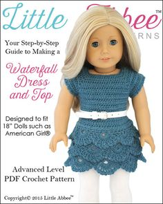 Little Abbee Waterfall Dress and Top Doll Clothes Pattern 18 inch American Girl Dolls | Pixie Faire