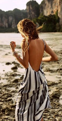 Backless stripes maxi