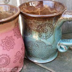 MADE TO ORDER Bohemian Henna Tattoo Coffee Mug von CropCircleClay