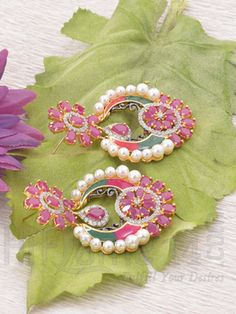 Earrings with Designer Red AD and Pearls