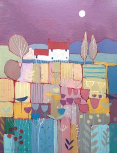 Original  Landscape Painting on Canvas - Red Roof Cottage- by Annabel Burton